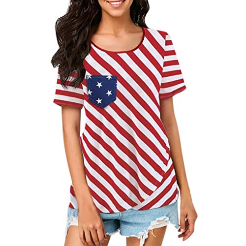 Independence Day Short Sleeve Casual Loose Top T-Shirt Blouse Red ()