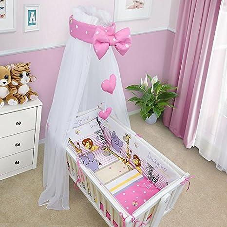 Safari Green BABY BEDDING SET CRIB CRADLE 10 Pieces PILLOW DUVET COVER BUMPER CANOPY to fit Crib 90x40cm 100/% COTTON