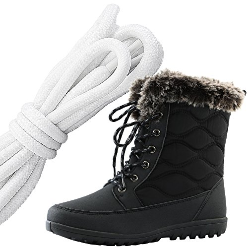 DailyShoes Womens Comfortable Round Toe Flat Ankle High Eskimo Winter Fur Snow Boots, White Black Black Pu