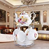 CLG-FLY Continental tea pot ceramic coffee cup set creative Cup upscale English-style afternoon tea coffee cup and saucer set,1