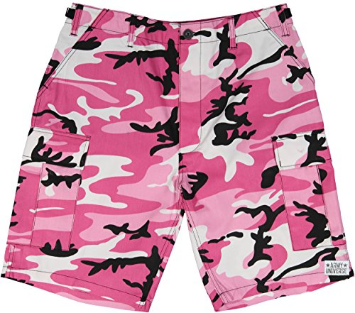 Army Universe Pink Camouflage Military BDU Cargo Shorts Pin Size X-Large (Waist 39-43