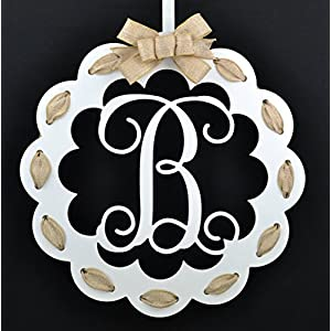 Letter B - Monogrammed Door Hanger   Mom Gift   White and Burlap Everyday Year Letter Door Hanger 95