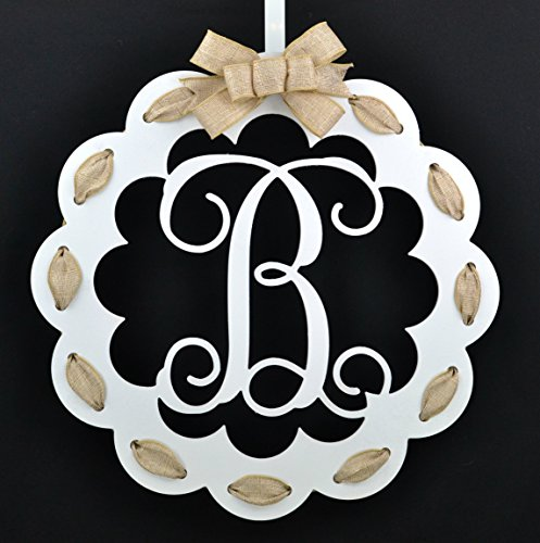 Letter B - Monogrammed Door Hanger | Mom Gift | White and Burlap Everyday Year Letter Door Hanger