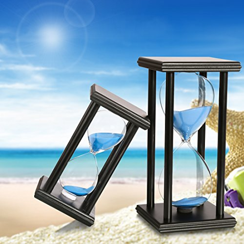 BOJIN 20 Minute Hourglass Sand Timer Wooden Black Stand Hourglass Clock for Office Kitchen Decor Home - Blue Sand by BOJIN (Image #5)