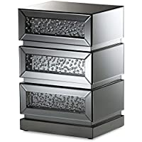 Baxton Studio Sabrina Mirrored 3 Drawer Nightstand in Silver