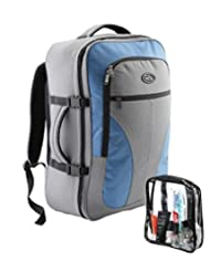 Cabin Max Palermo Carry-on luggage Cabin bag Detachable Toiletry Bag 44 litres (Grey/ Blue)