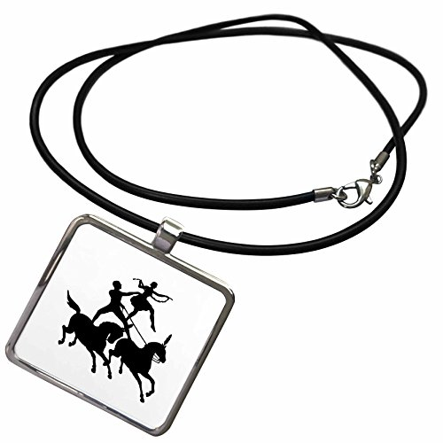 3dRose Black and White - Image of Circus Horses With Man and Woman In Black and White - Necklace With Rectangle Pendant (ncl_279977_1)