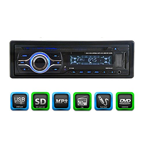 KKmoon KV2169 Universal In-Dash Single-DIN Car CD DVD MP3 FM Player with Aux Input SD / USB Port