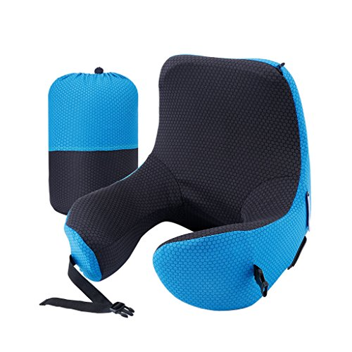 LANGRIA 6-in-1 Memory Foam Neck Support Travel Pillow with Detachable Hood Adjustable Neck Size for All Ages Side Elastic Pocket Neck Travel Cushion for Plane Train Car Bus Office (Blue) by LANGRIA