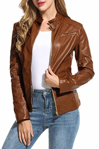 HOTOUCH Womens Faux Leather Zip Up Moto Biker Jacket Coffee M by Hotouch (Image #1)