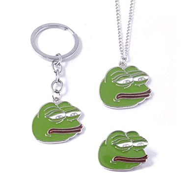 Amazon.com: WKS Pepe Sad Frog - Llavero y broche (3 ...
