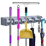 Mop Broom Holder Wall Mount Organizer votron Commercial storage Rack & Organization Hanger with 5 Position with 6 hooks Champ Grip Holds up to 11 Tools for Kitchen Garden and Garage