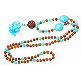 Jewelery Turquoise Rudraksha Intution Purification Necklace Buddhist Knotted 108 Mala Beads