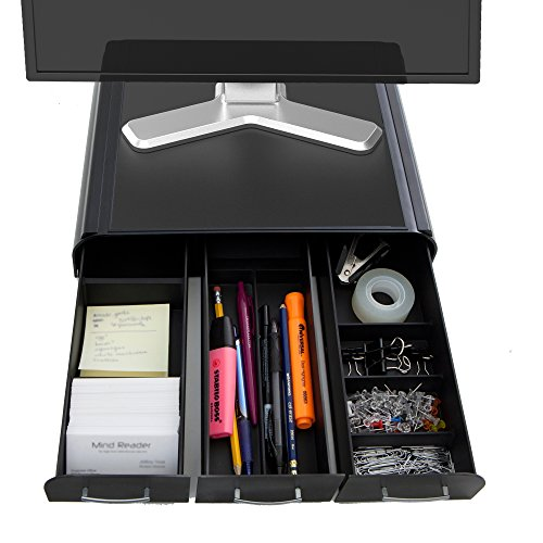 Riser Drawer (Mind Reader PC, Laptop, IMAC Monitor Stand and Desk Organizer, Black)