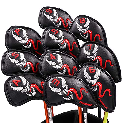 5 Iron Head - Champkey Custom Golf Iron Head Cover Pack of 10pcs Club Covers Ideal for Titleist, Callaway, Ping, Taylormade,Cobra Etc (Spider-Black)