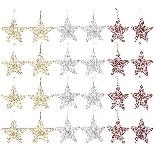 (Juvale 24-Pack of Christmas Tree Decorations - Star Decorations, Christmas Ornaments, Festive Embellishments, Gold, Silver, and Red - 6 x 1 x 5.7 Inches)