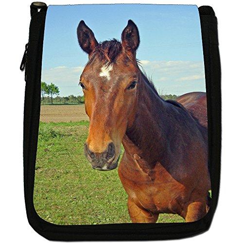 Bella nbsp; Brown Medium Tela Tracolla Horses Elegante Nero Di A rrwzU5q