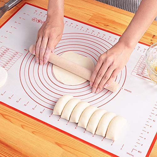 LIMNUO Silicone Pastry Mat Extra Thick Non Stick Baking Mat Non Stick Rolling Dough with Measurements-Non Slip,Reusable,Counter Mat, Dough Rolling Mat, Oven Liner, Pie Crust Mat