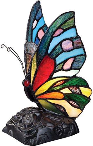 Quoizel TFX1518T Rainbow Butterfly Tiffany Table Lamp Lighting, 1-Light, 7 Watt, Bronze (9