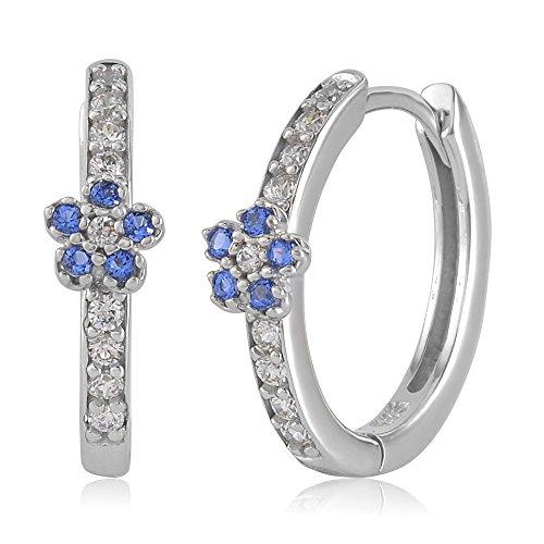 UNICORNJ Childrens Tweens 14k White Gold Cubic Zirconia Blue Flower Hoop Huggie Earrings 14.5mm Diameter by Unicornj