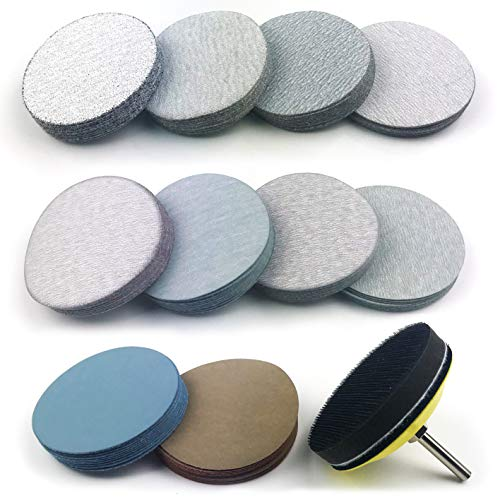 3 Inch Assorted Grits White Dry & Waterproof(wet/dry) Hook & Loop Sanding Discs with 1/4 inch Shank Sanding Pad + Soft Foam-Backed Interface Buffer Pad, Total 100 Discs ()