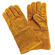 Welding Gloves Lined Leather Heat Resistant Safety Melting Furnace Gloves Refining Casting Gold Silver Copper