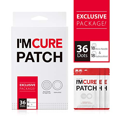 KARATICA Hydrocolloid IM CURE PATCH Acne Pimple Instant Healing Patch, Absorbing Hyaluronic Acid, Sodium Hyaluronic, Invisible, Microneedle 6ea + Hydrocolloid 6ea X 3 Sheet