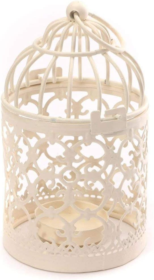 Bird Cage Metal Hollow Out Decorative Birdcage Iron Candle Holder Candlestick Hanging Lantern (White) (2 Pack A)