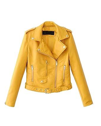 3ee3c786649be Femme Manches Longues en Cuir PU Veste Courte Biker pour Veste De Moto:  Amazon.fr: Vêtements et accessoires