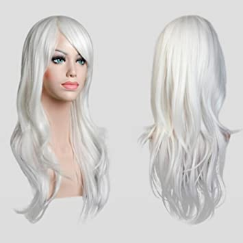 S Noilite New 23 Cosplay Wavy Wigs Full Head White Hair Wig Anime