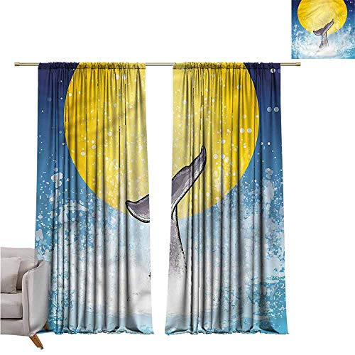 zojihouse WhaleBedroom and Living Room Curtains Fish Tail Ocean Full Moon W82xL72