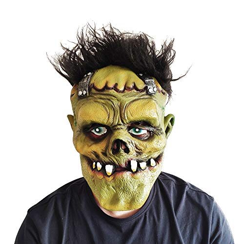 Halloween Mask Latex Rubber Horror Killer Mask Scary Green Face Monster with Hair for Adults Cosplay Party Festivals Decoration]()