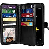 NEXTKIN Blade Z Max Z982 Case, Leather Dual Wallet Folio TPU Cover, 2 Large Pockets Double flap Privacy, Multi Card Slots Snap Button Strap For ZTE Blade Z Max Z982/Sequoia - Black