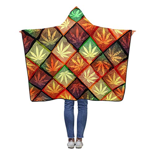 Hemp Babies Polar - INTERESTPRINT Colorful Hemp Leaves Throw Blanket 50 x 40 inches Toddler Kid Baby Boys Girls Polar Fleece Blankets with Hood