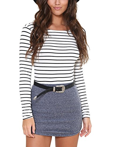 Just Quella Women's Short Mini Bodycon shirt 6341 - Shirt Fitted Striped