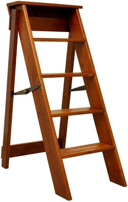 T-Z Taburete Plegable de Madera con Peldaños Escaleras de Mano Escalera Plegable 5 Escalones Renovación del Hogar Interior Muebles Altos de 88 cm, marrón: Amazon.es: Deportes y aire libre