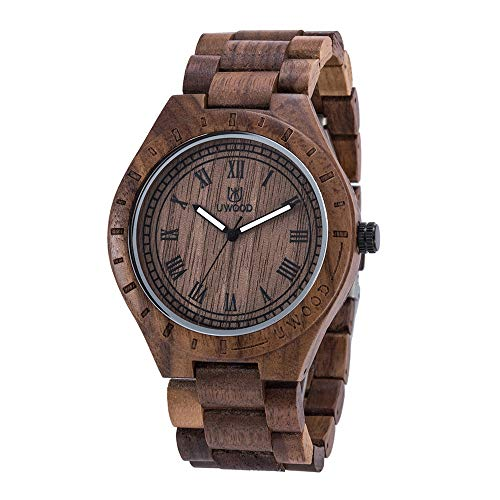 Tayhot Men's Wood Watch,Male Analog Quartz Natural Handmade Lightweight Wooden Large Face Round Dial Mens Walnut Wrist Watch with Wood Band by Tayhot