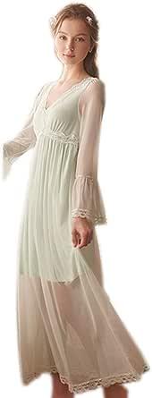 Singingqueen Women's Long Sleeve Vintage Nightgown Victorian Nightdress Sleepwear Loungewear ChemisesPajamas