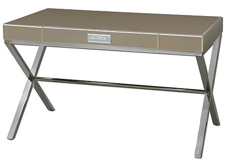 Mirrored Bronze Silver Writing Desk | Modern Furniture