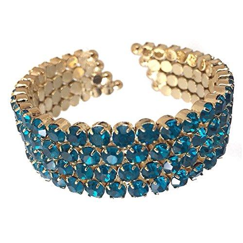 Teal Blue Rhinestone Gold Tone 4 Row Prom Pageant Bling Cuff Bracelet (Aqua Rhinestone Bracelet)