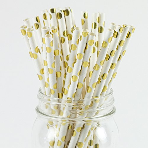 Paper Straws Gold Foil Polka Dot Pattern - Eco Friendly Biodegradable Wedding Straws - Dozens of Designs & Perfect For Any Party! Frozen Dessert Supplies - Fast Shipping! 50 Count