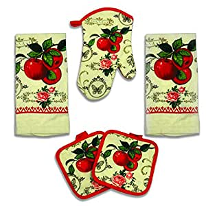 Old Fashion Red Apple 5 Piece Kitchen Towel Set