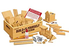 Imagine it, then build it! Kids create project after project using smooth pine pieces in a wide variety of shapes. We've also included a lightweight hammer, plus nails, a guide with instructions for multiple projects and more-all in a handy 7...