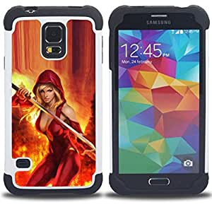 GIFT CHOICE / Defensor Cubierta de protección completa Flexible TPU Silicona + Duro PC Estuche protector Cáscara Funda Caso / Combo Case for Samsung Galaxy S5 V SM-G900 // sexy cleavage red fire sword hero woman //