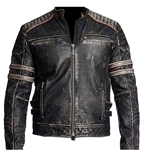 NM Fashions Men's Vintage Cafe Racer Black Distressed Retro Motorcycle Real Leather Jacket