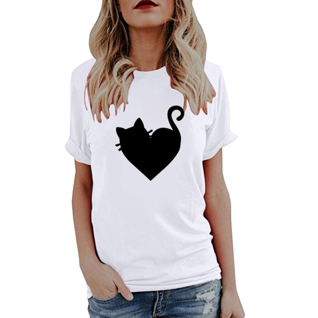 KIKOY Summer Women's Short Sleeve Cute Print Tops Basic Casual T-Shirts Blouse