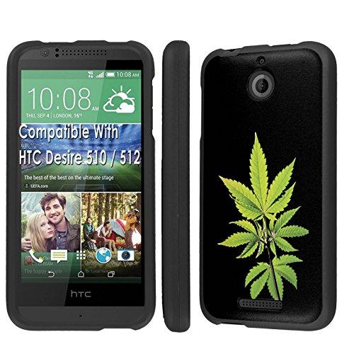 Case, [NakedShield] [Black] Total Armor Protection Case - [Weed Leaf] for Htc Desire 510 / 512 ()