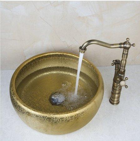 GOWE Double Handle Antique Brass Tap+Bathroom Sink Washbasin Ceramice Vessel Bath Sink Combine Set Torneira Tap Mixer Faucet 1