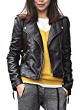 Vijiv Women's Faux Leather Zipper Jackets Slim Short Coat X-Large Black