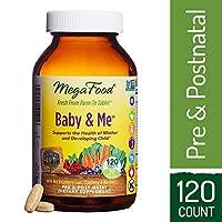 MegaFood - Baby & Me, Suplemento Prenatal y Postnatal para Apoyar un Embarazo, Desarrollo, Huesos y Niveles de Glóbulos Rojos Saludables para la Madre y el Niño, Vegetariano, Sin Gluten, Sin OGM, 120 Tabletas
